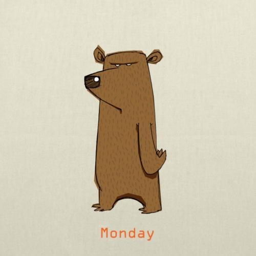 Odio lunedì scontroso orso lavoro ufficio pendolari - Borsa di stoffa