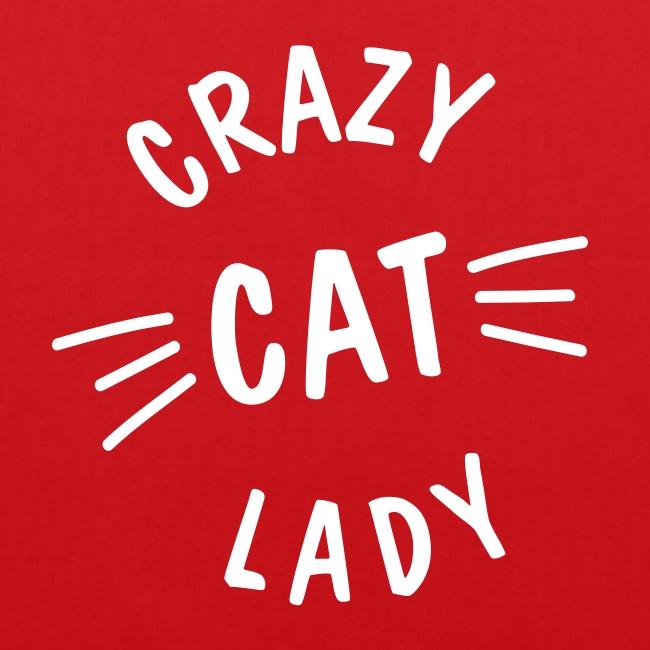 Vorschau: Crazy Cat Lady meow - Stoffbeutel