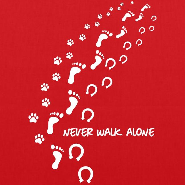 Vorschau: never walk alone hund pferd - Stoffbeutel