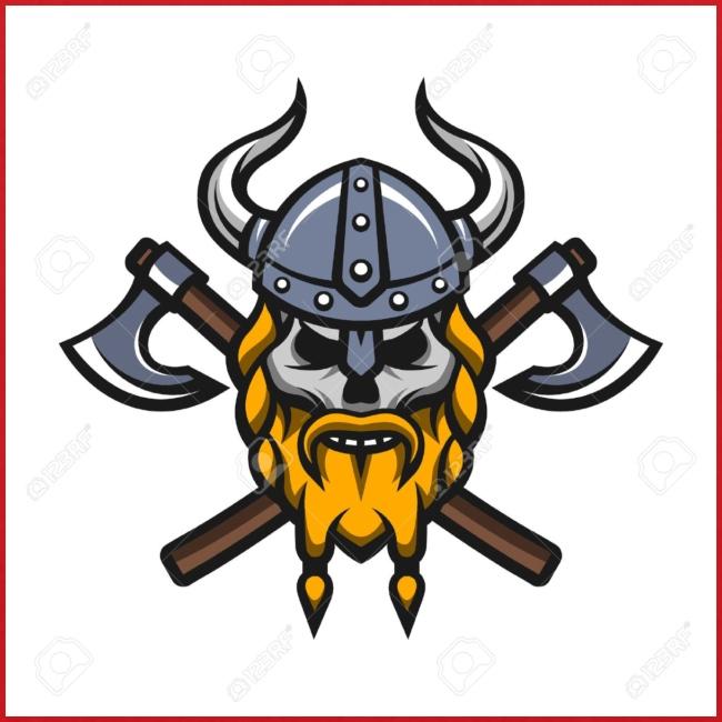 Viking Warrior Skull and Axes badge logo