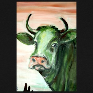green cow portrait acrylic painting expressionistic - Men's Sweatshirt