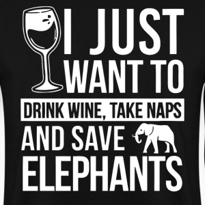 I just want to drink wine and save elephants shirt - Men's Sweatshirt