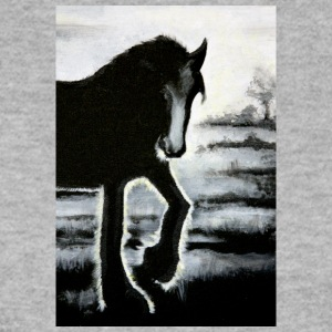 horse Haflinger painting backlit black ra - Men's Sweatshirt