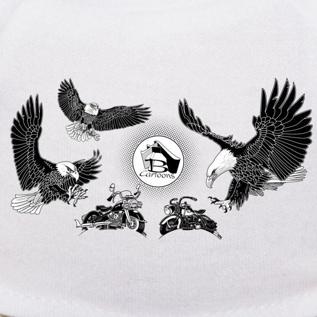 Three Eagles dancing for two bikes.