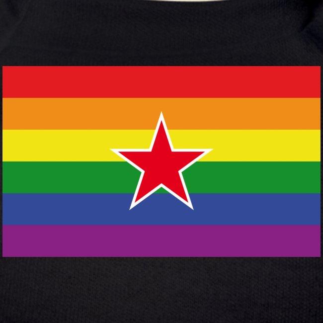 Regenbogenflagge mit rotem Stern