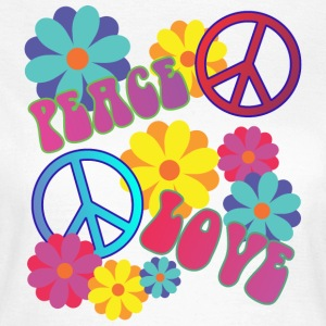 love peace hippie flower power - Women's T-Shirt
