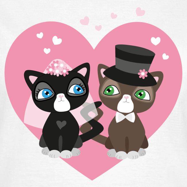 Katzen-Braut und Katzen-Bräutigam - Hochzeitspaar