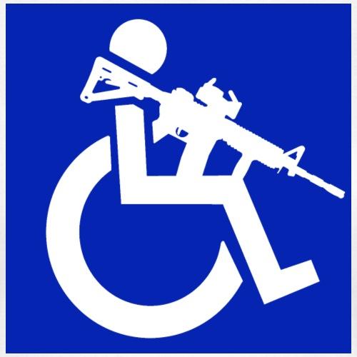 Afbeelding van een rolstoel gebruiker met geweer - Vrouwen T-shirt