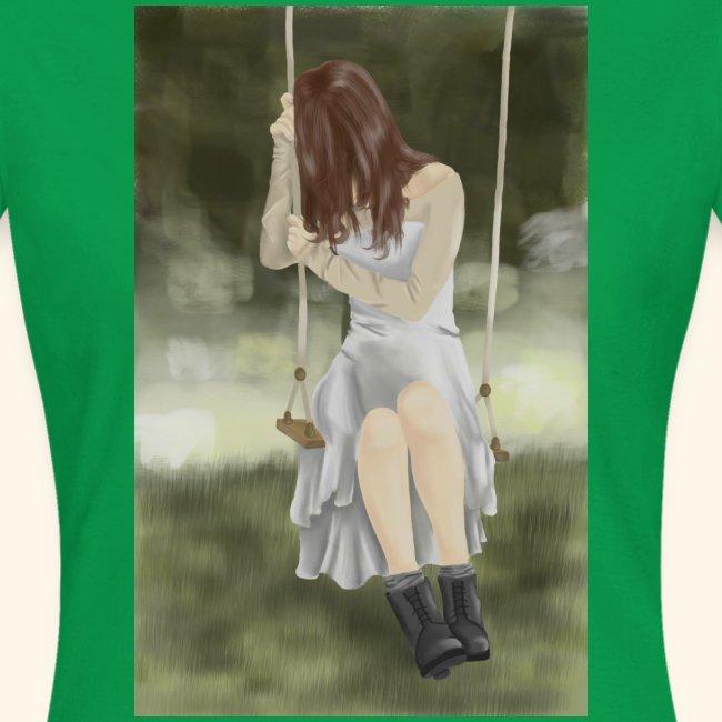 Sad Girl on Swing
