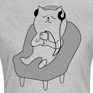 Cat relaxes and listens to music - Women's T-Shirt