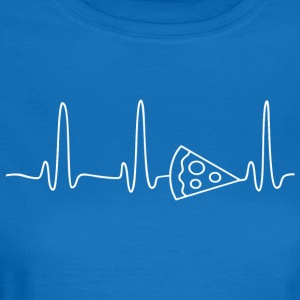 EKG HEART LINE PIZZA vit - T-shirt dam
