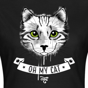 Cat oh_my_cat green eyes face white striped - Women's T-Shirt