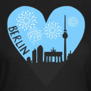 Berlin by night, heart, city, I love, Silhouette - Women's T-Shirt