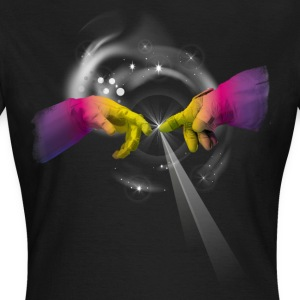 space fingers astro regenbogen licht geek univers - Frauen T-Shirt