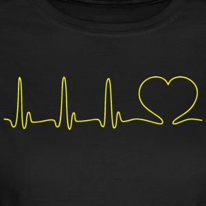 EKG HEART LINE HEART LOVE gul - T-skjorte for kvinner