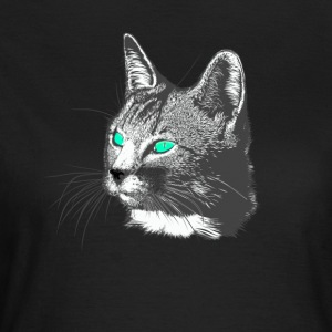 Cat Head Dessin Tête d'un animal grande fourrure verte août - T-shirt Femme