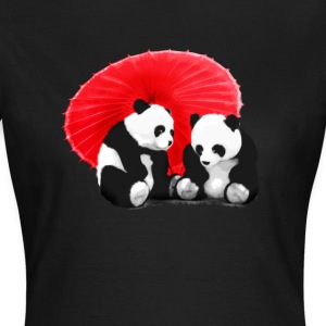 2 pandas Manga cute panda love Girl fun LOL hu - Women's T-Shirt