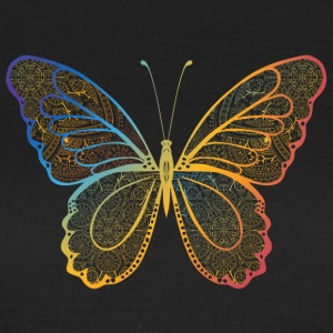 Butterfly in regenbogefarben hand drawn, - Women's T-Shirt