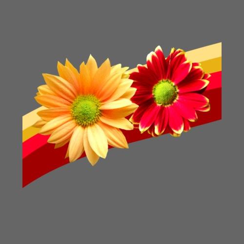 Blumen in den Farben rot und gelb, Blüten, floral - Frauen T-Shirt