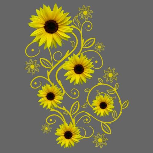 gelbe Sonnenblumen, Ornamente, Sonnenblume, Blumen - Frauen T-Shirt