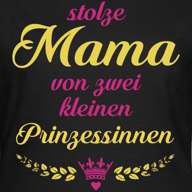 Stolze Mama von zwei kleinen Prinzessinnen