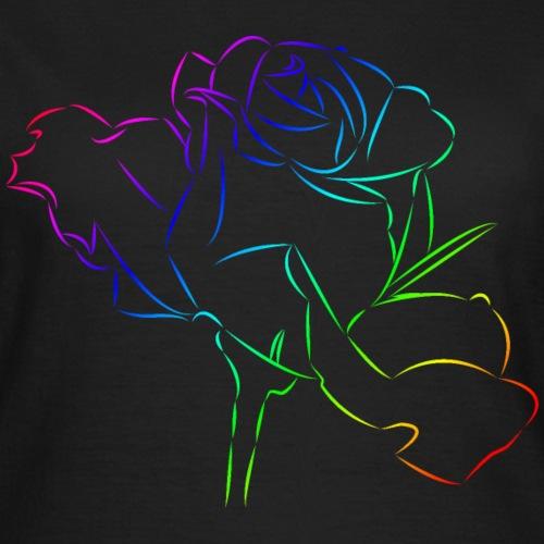 wundervolle Rose in den Farben des Regenbogens - Frauen T-Shirt