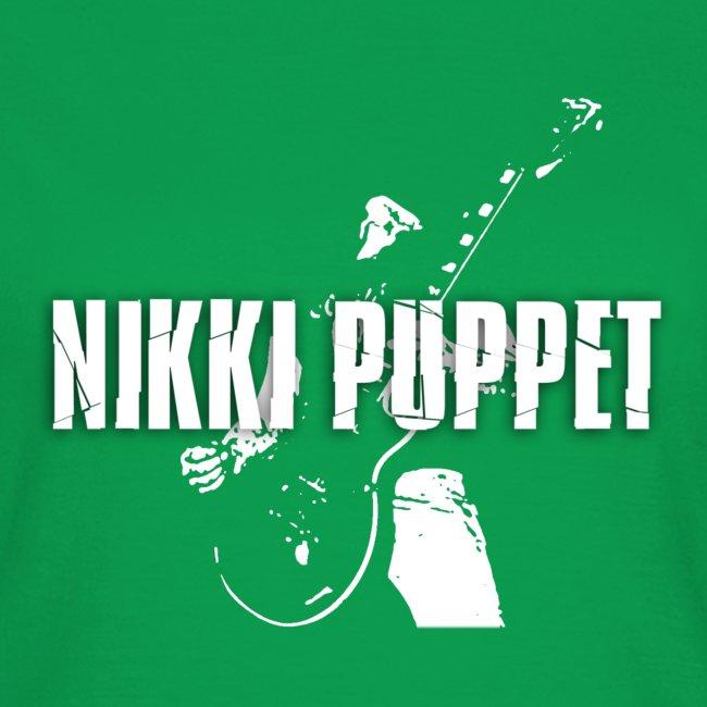 NIKKI PUPPET Gitarrist und Logo weiss