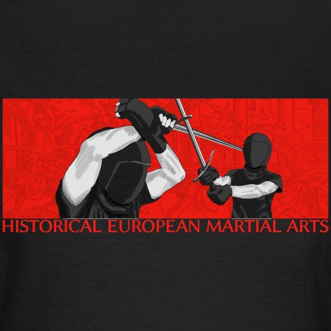 Masked fencers on red