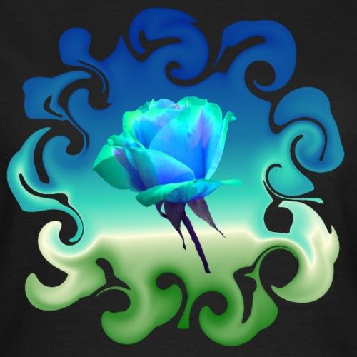 Traum in blau grün - einzigartige blaue Rose - Frauen T-Shirt