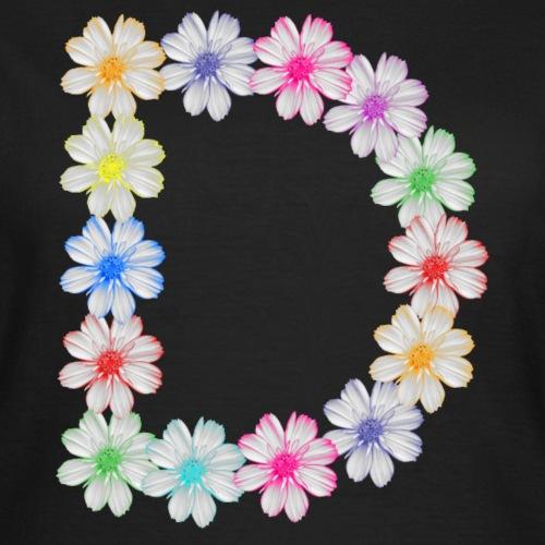 Buchstabe D aus Blumen, floral, Kosmee Blüten - Frauen T-Shirt