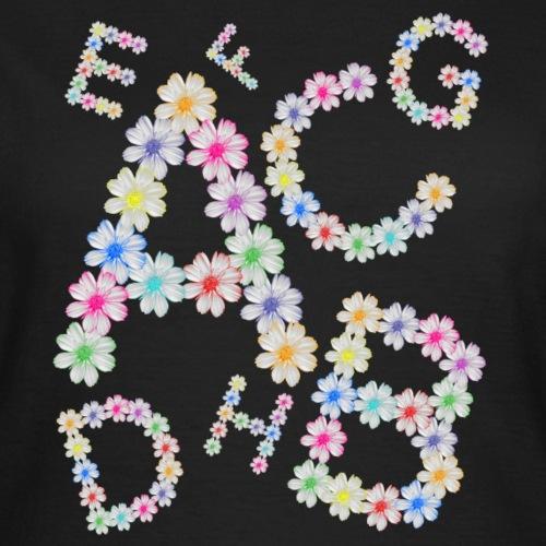 Buchstaben aus Blumen, floral, Kosmee Blüten - Frauen T-Shirt
