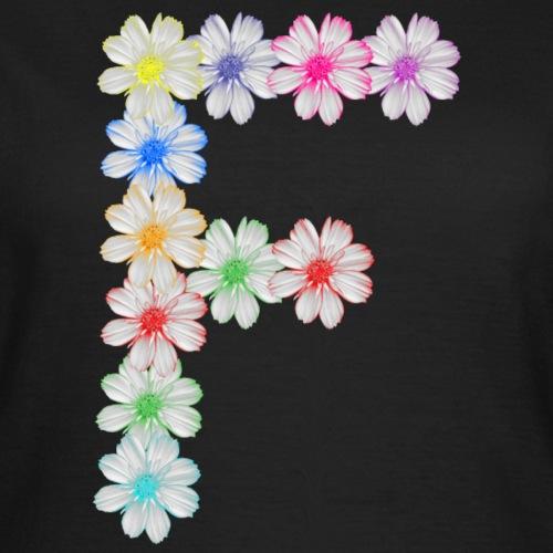 Buchstabe F aus Blumen, floral, Kosmee Blüten - Frauen T-Shirt