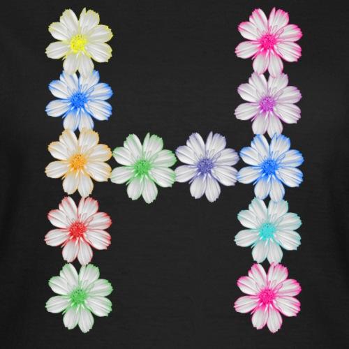 Buchstabe H aus Blumen, Initialen, Kosmee Blüten - Frauen T-Shirt