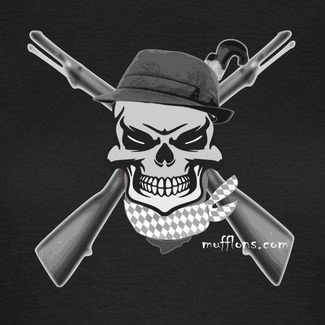 Totenkopf mit Hut und Gewehr Schrift weis