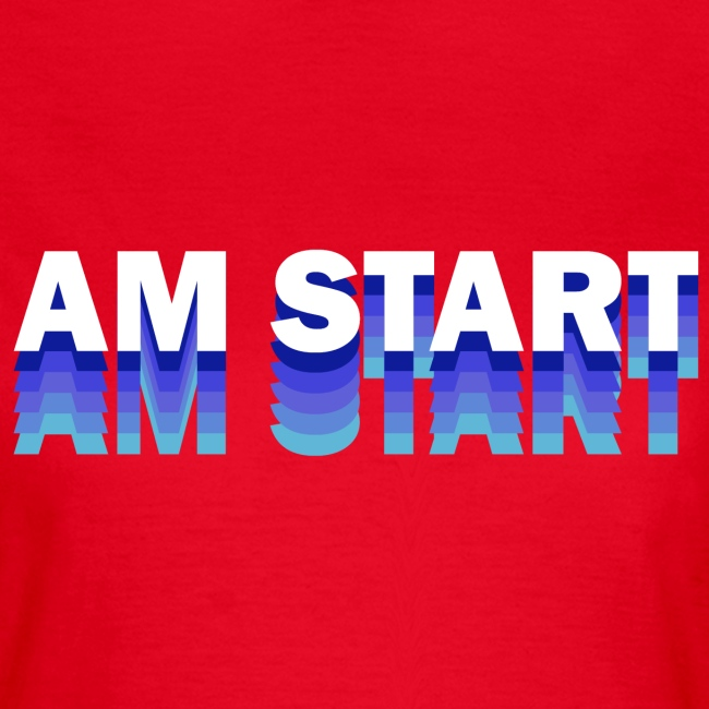 am Start - blau weiß faded