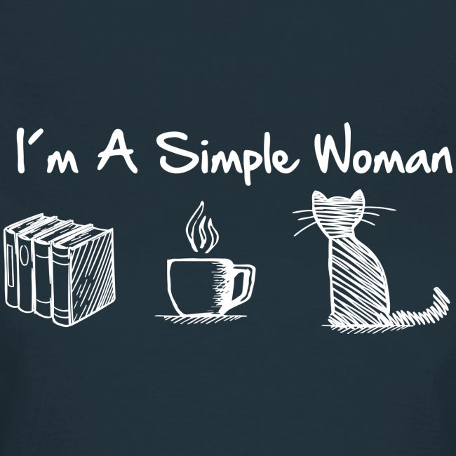 Vorschau: simple woman cat books - Frauen T-Shirt
