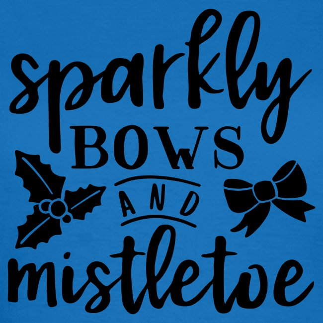 Sparkly bows and mistletoe