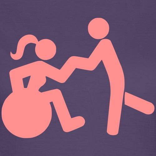 Afbeelding van vrouw in rolstoel die danst met man - Vrouwen T-shirt