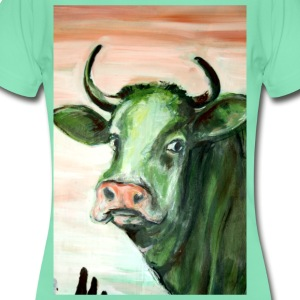 green cow portrait acrylic painting expressionistic - Women's T-Shirt