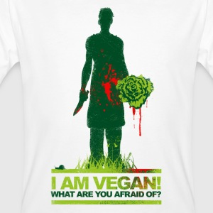 I AM VEGAN! WHAT ARE YOU AFRAID OF? (dark green) - Männer Bio-T-Shirt