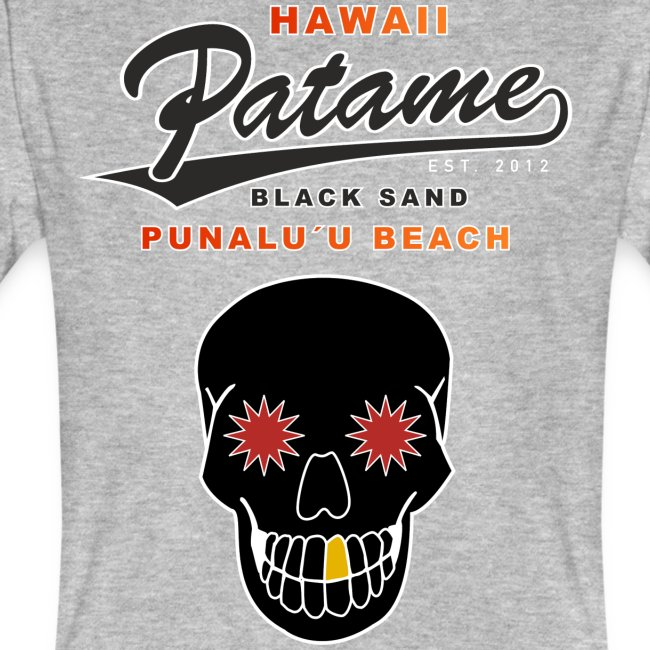 Patame Black Sand Beach with Skull