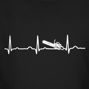 ECG HEARTBEAT CHAINSAW wit - Mannen Bio-T-shirt