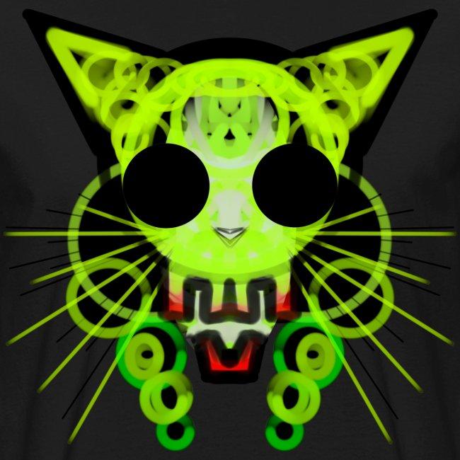 cat skeleton skull light green in deep black
