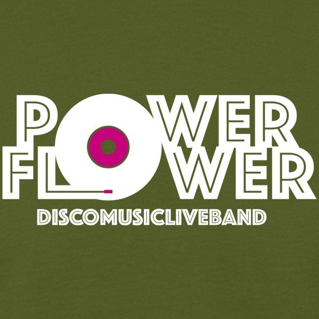 Logo PowerFlower bianco e fuxia