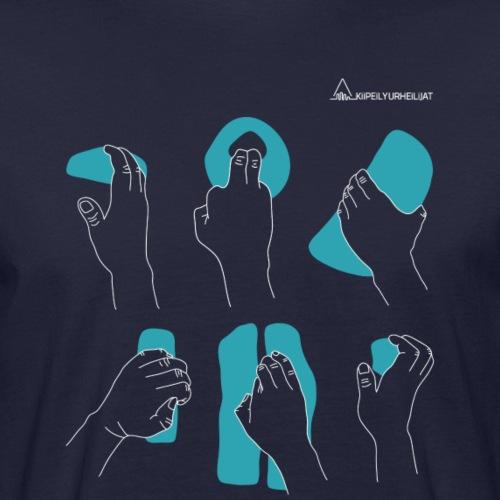 'Otteet' Turquoise-White - Miesten luonnonmukainen t-paita