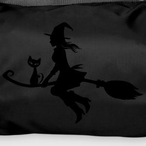 Witch on broom with cat - Duffel Bag