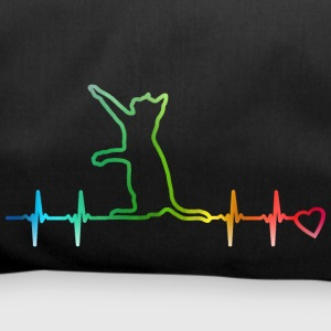 Heartbeat cat rainbow heart beat cat heart curve - Duffel Bag