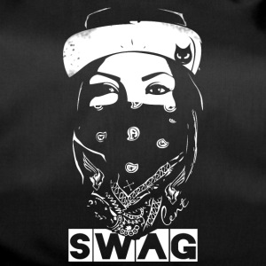 SWAG face Rapp Bandit Bad Gang Street hip white - Duffel Bag