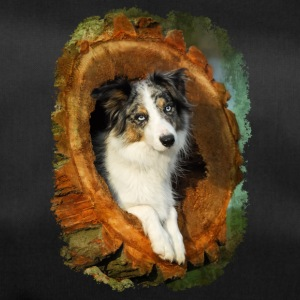 Border Collie dog blue merle in a tree trunk - Duffel Bag