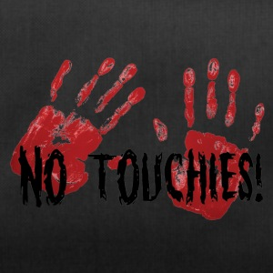 No Touchies 2 Bloody Hands Behind Black Text - Duffel Bag